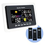Indoor Outdoor 3 remote sensor Wireless Weather Station monitor Weather forecast LED Backlight Temperature Humidity DCF RCC Moonphase