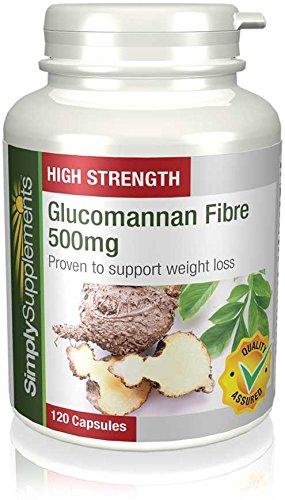 Fibre di Glucomannano 500mg - Perdita di Peso - 120 Capsule - 2 mesi di trattamento - Simply Supplements