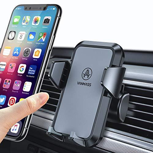 VANMASS Handyhalter fürs Auto Handyhalterung Lüftung Kfz Handy Halterung 2 Aktualisierte Lüftungsclips umfassend Silikon Schutz Smartphone Handyhalter auto 360°für iPhone Samsung Galaxy Huawei Mate LG
