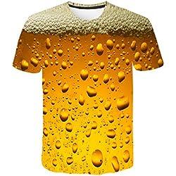 Camisetas Hombre Manga Corta Tallas Grandes Moda Verano de 3D Impresión de Cerveza Casual Camisetas Hombre Blusa Tops Camisas Staresen