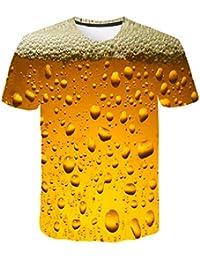 TWBB Camiseta de Manga Corta con Estampado de inundación 3D para Hombres