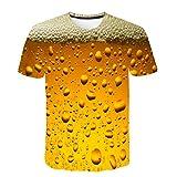 Frashing Herren Kurzarm Shirt 3D-Druck Bier Casual Kurzarmhemd Frühling Sommer T-Shirt Basic Kurzarmshirt Freizeit Rundhal-Ausschnitt