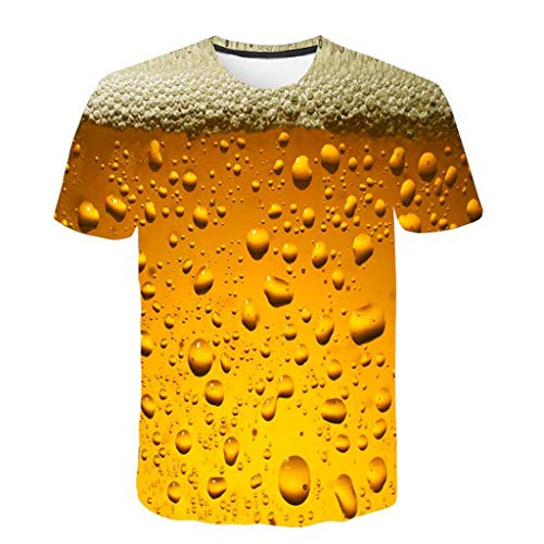 Kaltes Bier T-shirt (MAYOGO 3D Druck Tshirt Herren Kurzarm Round Hals Bier 3D Print T-Shirts Oberteile mit Sprüchen Männer Hemden Tops)