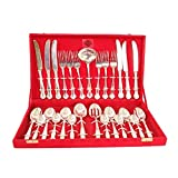 Indian Art Villa Silver Plated Cutlery Serveware and Tableware Set, 27 Piece,