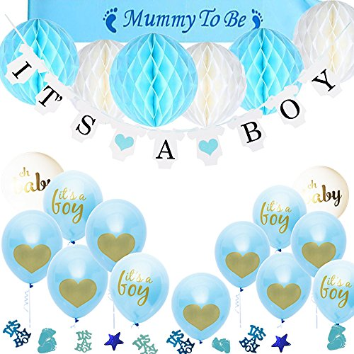 TopDeko Babyparty Deko Jungen, Baby Junge Deko Baby Shower Boy Deko mit It's A Boy Girlande, 6pcs Wabenbälle, Mummy to Be Schärpe, Konfetti Babyparty, 15pcs Luftballons für Baby Shower (Produkte Beliebteste)