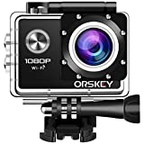 ORSKEY Action Cam 1080P Wifi Unterwasserkamera Full HD 12 MP Sport Kamera Wasserdicht Helmkamera 170...