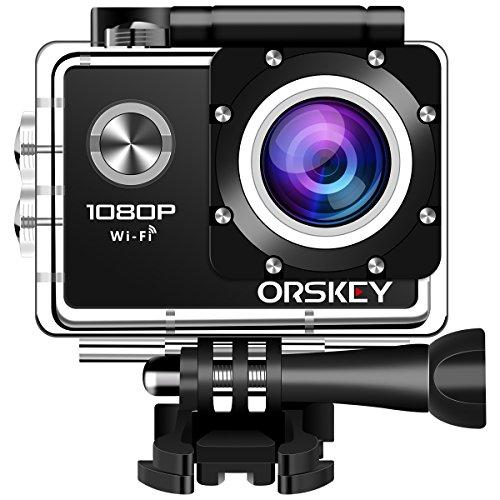 ORSKEY Action Cam 1080P Wifi Unterwasserkamera Full HD 12 MP Sport Kamera Wasserdicht Helmkamera 170 Weitwinkel mit 2 wiederaufladbaren Batterien und Montage Zubehör Kits