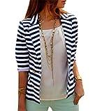 YPtong Donna Top Strisce Blazer Elegante Giacche da Abito Maniche Lunghe Leggere Primaverili Outerwear Jacket Corte Moda Slim Fit Cappotto Blusa da Smoking Eleganti