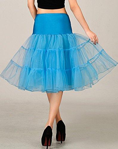 Ghette sottili del FOLOBE 50s Tutu Crinoline Underskirt vestito di balletto di tutu del Organza stratificato Mini pannello esterno 65cm / 25.6inch  Blu