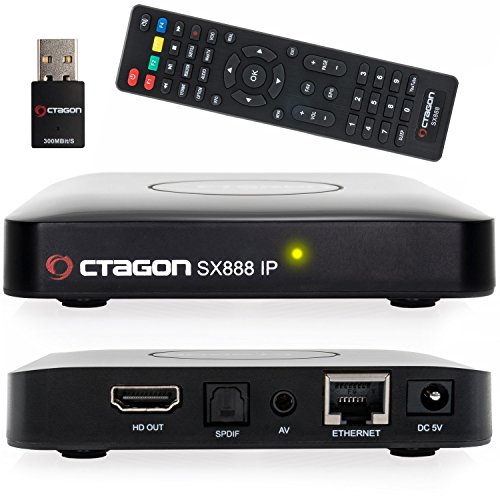 Octagon SX888 H265 Mini IPTV Box Receiver inkl. 300 Mbit WLAN Stick mit Stalker, m3u Playlist, VOD, Xtream, WebTV [USB, HDMI, LAN] Full HD