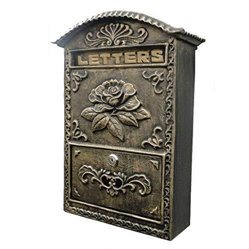 GXF An der Wand befestigter alter Handwerks-Landhaus-Briefkasten-im Freiensicherheit abschließbar mit 2 Schlüsseln u. Sichtbarem Windows-Briefkasten-Schmiedeeisenhauptbriefkasten, 24x8x34 cm