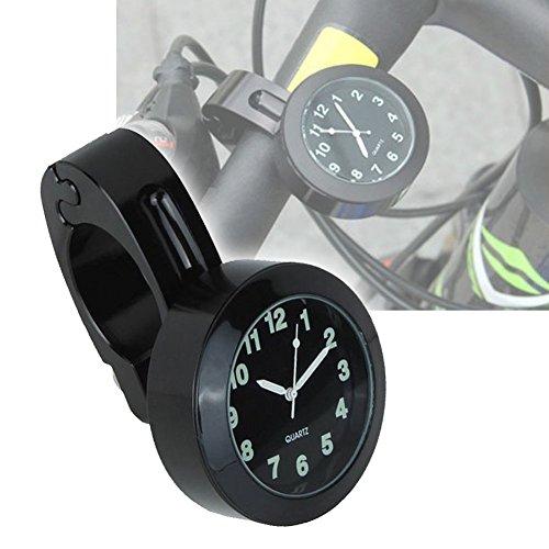EMOTREE 1x Motorraduhr Lenkeruhr für Motorrad Harley 7/8'' - 1'' Edelstahl Lenkerhalter Uhr Nachtleuchtend Farbe Schwarz