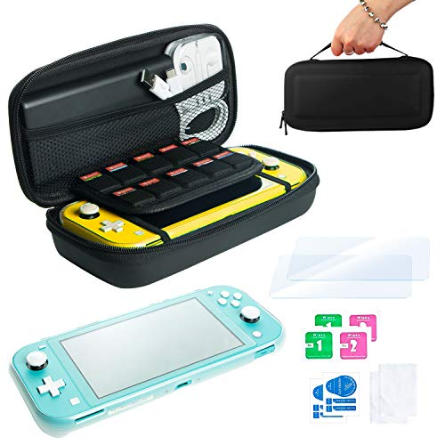 Pack de Accesorios Nintendo Switch Lite: Estuche de Transporte para Consola y 10 Juegos, Funda de Silicona Transparente con Grip y Protector de Pantalla de Cristal Templado (kit 2 vidrios)