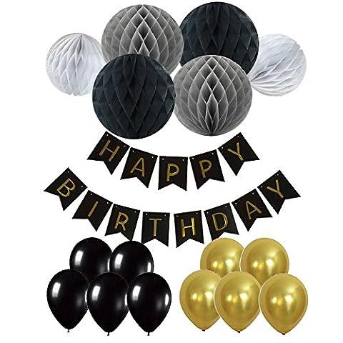 Eburtstag Dekoration, Recosis Happy Birthday Girlande mit Luftballons Latexballons und Wabenbälle Papier für Geburtstag Dekoration - (Blumen Pappteller)
