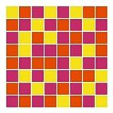 FoLIESEN Fliesenaufkleber für Bad und Küche - 15x15 cm - Mosaik pink-orange - 14 Fliesensticker für Wandfliesen
