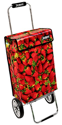 James Einkaufstrolley Design STRAWBERRY deluxe, moderner Einkaufswagen, bunter Lifestyle Shopper, Trolly, Rollkoffer, 40kg Tragkraft, klappbar, 100 Designs, made in EU!