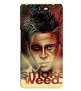 printtech Smoke Weed Back Case Cover for Micromax Canvas Knight A350