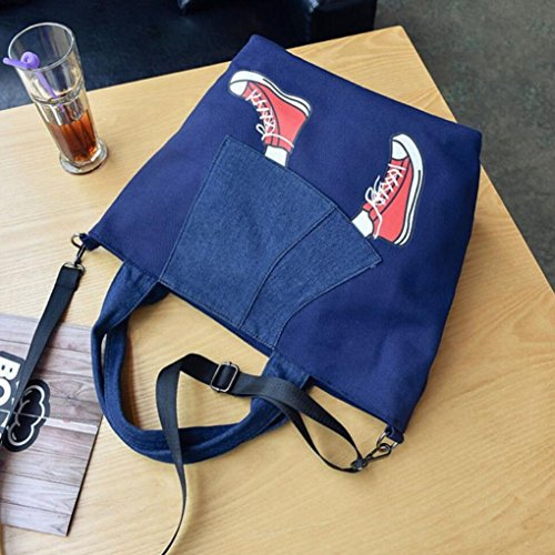 Fotocamera Borsa Cerniera, Donna Canvas Borsetta Borsa Spalla Borsetta Messenger Crossbody Bag Tote by Kangrunmy Blu