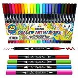 Hochwertige Dual Brush Pens Pinselstifte Set von Tritart I 25 Brush Pen Farben auf Wasserbasis mit Fineliner und Pinsel Spitze I Dual Tip Marker Pens Kalligrafie Pinselstift Manga Filzstifte Pinsel