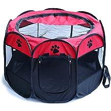YOUJIA Box Per Cani Gatti Animali Recinzione Per Cuccioli Pieghevole Box da Esterno (Rosso, M)