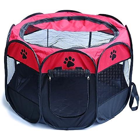 YOUJIA Parque Para Mascotas Cachorros Parque Para Animales Perros Gatos Entrenamiento y Dormitorio (Rojo,
