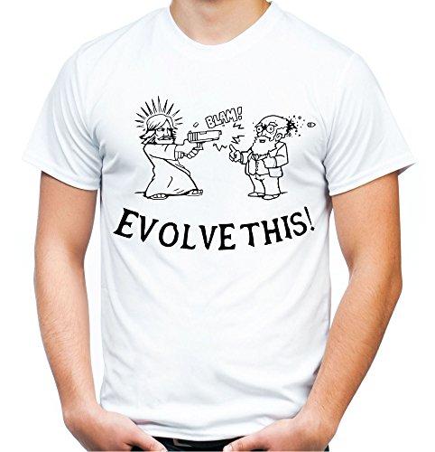 Evolve This Männer und Herren T-Shirt | Evolution Darwin Jesus (XL, Weiß) - Jesus-fisch-shirt