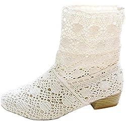 Minetom respirable botas de mujeres primavera verano otoño fresco botas Blanco EU 34