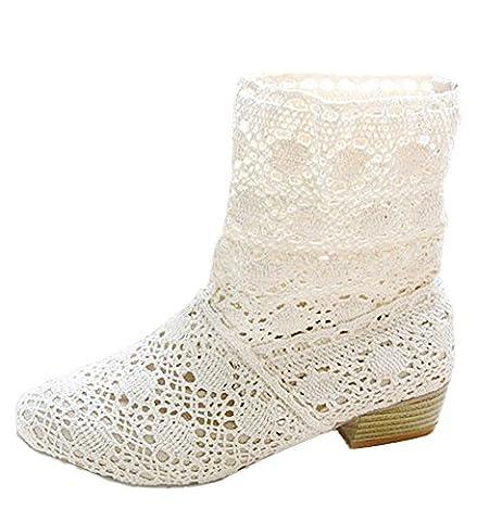 Minetom Femme Été Automne Mode Creux Dentelle Classics Courtes Bottes Femmes Bottine Bloc Talon Mid-calf Boots Blanc EU