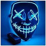 MILIER Maschere di Halloween, Maschere LED Cosplay Maschere da Festa in Maschera Decorazioni Smorfie per Adulti e Bambini (Blu)