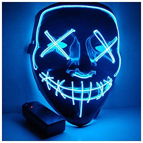 Kostüm Am Einfache Besten - ChuYa Halloween Maske LED Light Wire Cosplay Maske Purge Mask für Halloween Festival Cosplay Halloween Kostüm (Blau)