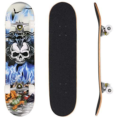 Bunao Skateboard Komplettboard 31 x 8 Zoll mit ABEC-7 Kugellager 9-lagigem Ahornholz für Kinder Jungendliche und Erwachsene, Belastung 100kg (Farbe 4)