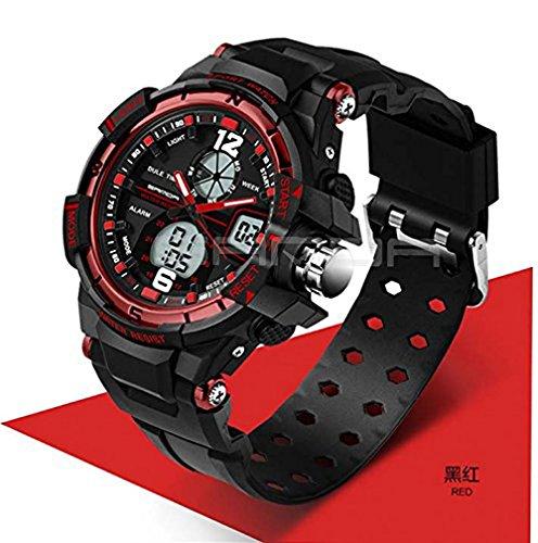 Sport Armbanduhr Herren 2016Uhr Stecker LED Digital Quarz Handgelenk Uhren Herren Top Marke Luxus digital-watch relogio Masculino, rot