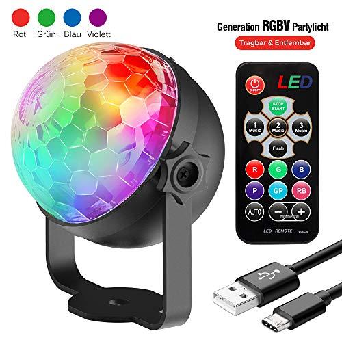 t Kinder | LED Party Lampe Beleuchtung mit Fernbedienung & USB | Discolicht Lichteffekt | 7 Farbe RGBP | Geburtstag Xmas Halloween Feier Bühne ()