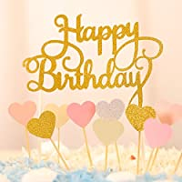 Happy Birthday Kuchendekoration Cake Toppers Kuchen Deko (Gold+ Rosa Herz)