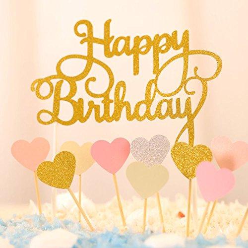Happy Birthday Kuchendekoration Cake Toppers Kuchen Deko (Gold+ Rosa Herz)