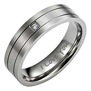Brand New 7mm Mens Cz Brushed Titanium Ring Engraved I Love You Comes In A Free Black Velvet Ring Box
