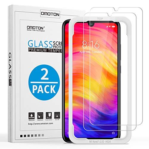 [2 Stück] OMOTON Panzerglas Schutzfolie für Xiaomi Redmi Note 7/ Note 7 Pro,mit Positionierhilfe, Anti- Kratzer, Bläschenfrei,9H Härte, HD-Klar, [2.5D R&e Kante]