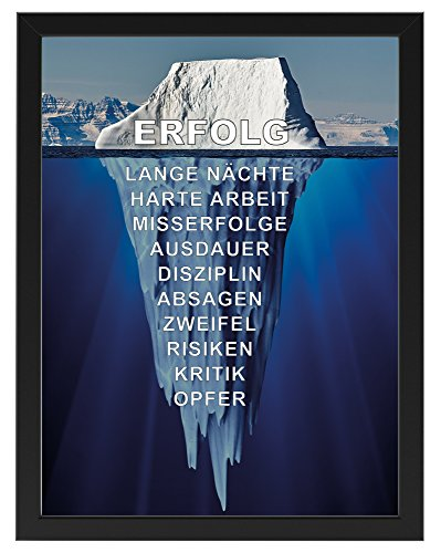 PICSonPAPER Motivations-Poster 30 cm x 40 cm, Eisberg des Erfolgs mit schwarzem Bilderrahmen, Poster mit Rahmen (30 cm x 40 cm)