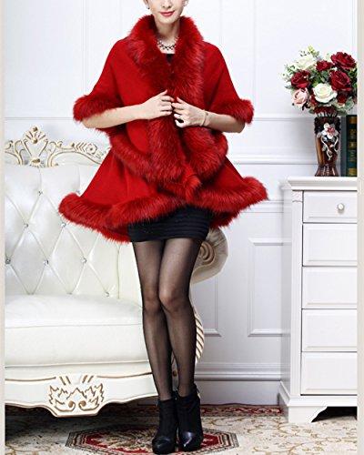 Femme Poncho de Soirée Cocktail Fausse Fourrure Élégant Ouverture Chaud Echarpe Mode Châle Veste Manteau Beunique Bordeaux