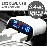 Fone Buddy One Plus 3T Compatible Certified Captcha 3.4 Amp Dual USB Intelligent Chip Super Fast Plug Car Charger With LED Display And Low Voltage Alarm