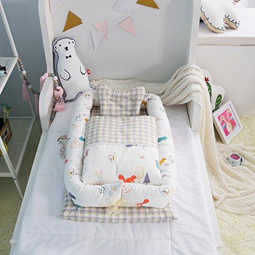 t (0-24 Monate) Abnehmbare Baby isoliert Bett Neugeborenes Baby schlafen Artefakt zusammenklappbar bionische Bett (Eichhörnchen) (Boden-quilt)