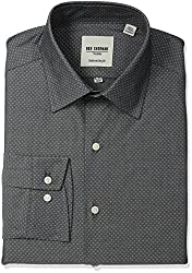 Ben Sherman Mens Slim Fit Diamond Dobby Spread Collar Dress Shirt, Black/White, 15.5 Neck 32-33 Sleeve
