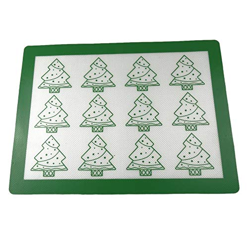 Silikon-Antihaft-Backmatten, Weihnachtsbäume Muster waschbar hitzebeständig leicht zu reinigen Backblech Pan Tray Liner für Cookie Pizza Brotbacken Silikon-pan-liner