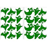 Halloween Ghosts Assorted Stickers 2 x A5 Sticky Back Self Adhesive Decoration Ghosts Green