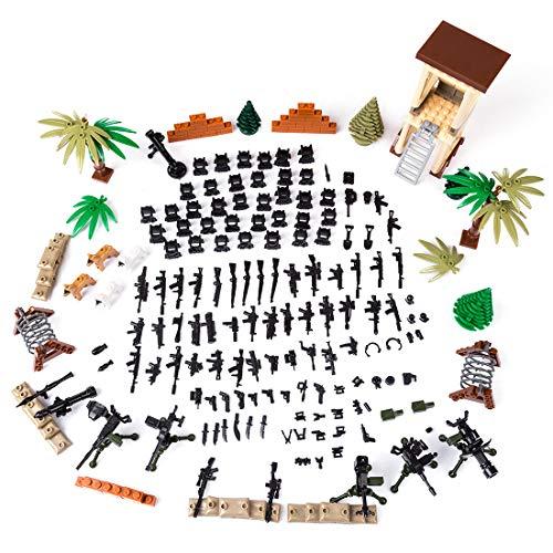 MAJOZ Mini Military Waffen und Zubehör Set SWAT Team Polizei Soldaten Minifiguren, Mini Modell Figuren Militär Bausteine Spielzeug für Kinder , Kompatibel mit Lego