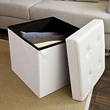 XL SoBuy 48x48x48cm, caja taburete, banco, puff arcón, puff caja, cesto para ropa, blanco, FSS27-W