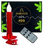 Baumkerzen kabellos mit Fernbedienung | 8er Set LED Kerzen rot mit Metall Clip Kerzenhalter rot | Weihnachtsbaumbeleuchtung