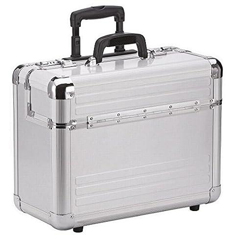 Dermata Piloten-Koffer Silber Matt aus Aluminium mit Rollen, Reise-Trolley Hartschalen Koffer als Handgepäck mit Laptopfach, Zahlenschloss, Teleskop-Griff, Aktenkoffer,