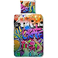 GOOD MORNING Juego De Funda Nórdica Graffiti Multicolor 140 x 200/220 cm + 60 x 70 cm