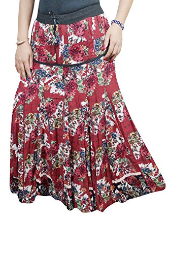 Indiatrendzs Women's Western Long Skirts Rayon Maroon Floral Fit Maxi Skirt  available at amazon for Rs.479